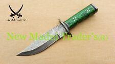 "12"" AMAZING DAMASCUS GREEN SHEET WOOD HANDLE RAINDROP PATTERN HUNTING KNIFE"
