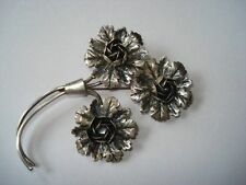 "Large Coro Sterling 1940's Rose Brooch 3 3/8"" Pegasus Mark"