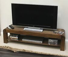Shiro solid walnut dark wood furniture low widescreen TV cabinet stand unit