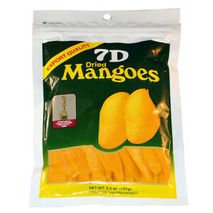7D Dried Mangoes Philippines Mango Snacks - Re-zippable Bag 100g - World Famous