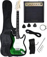 Crescent GREENBURST Electric Guitar+15w AMP+Strap+Cord+Gigbag NEW