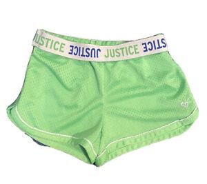 Justice Girl's Size 8 Green Logo Waist Dolphin Shorts