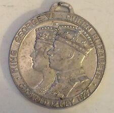 "RARE MAY 1937 ""KING GEORGE VI & QUEEN ELIZABETH"" PENDANT- CORONATION MEMORIBILIA"