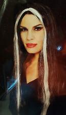 Black Wig Long Straight Streak Witch Vampire Bride of Frankenstein Costume Adult