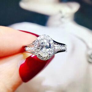 Elegant Women 925 Silver Rings Oval Cut Cubic Zirconia Jewelry Gift Sz 6-10