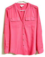 Charter Club Womens Blouse Melon Red Button Up Long Sleeve V Neck Pockets M