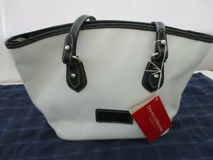 Dooney Bourke Stephanie SP138EX White Canvas & Black Leather Zip Shoulder Purse
