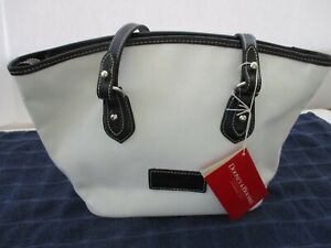 Dooney Bourke Stephanie White Canvas & Black Leather Zip Shoulder Purse