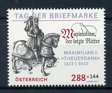 Austria 2017 MNH Day of Stamp Maximillian I Last Knight 1v Set Horses Stamps