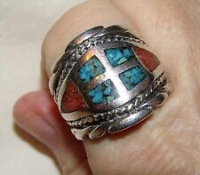 Sterling Silver - SOUTHWESTERN Coral Turquoise Mosaic 14.8g - Ring (11.5) Mens
