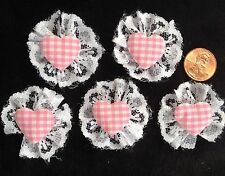 5 Hearts Pink Gingham Lace heart fabric Valentine Wedding Dolls crafts cards
