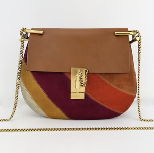 Authentic Chloe Drew Misty Leather With Suede Crossbody 02 16 70 65 6 Italy Bag
