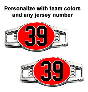 Pair of 2 Number Charms Jersey Style in Team Colors for Shoelace / Paracord