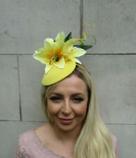 Yellow Green Lily Flower Leaves Feather Hat Fascinator Hair Floral Lime 0651