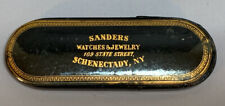 19thC Antique VICTORIAN Old SCHENECTADY NY ADVERTISING Papier Mache GLASSES CASE