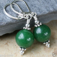 Handmade 12mm Dark Green Aventurine Jade Round Beads Silver Leverback Earrings