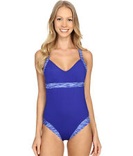 TYR SONOMA V NECK OPEN BACK ONE PIECE SWIMSUIT SWIM BLUE SMALL 4 / 6 NEW! $70