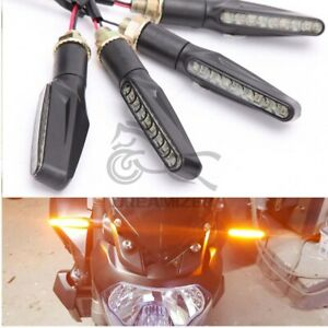2 Pair Motorcycle LED Turn Signals Blinker Amber Light For Suzuki Honda Kawasaki