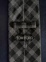 New Tom Ford Mens Necktie Tie Black Dark Gray Check 3.5 X 58.25
