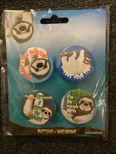 Life In The Slown Lane Sloths Buttons Flair Pins Aquarius