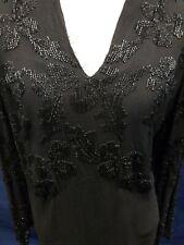 Vintage Beaded Black Dress Formal Covered Buttons Large - Xlarge
