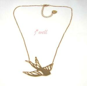 Betsey Johnson Gold Swallow Girl's Fashion Gift Chain Necklace
