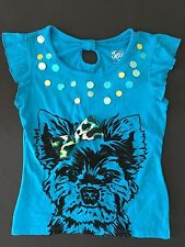 NWT JUSTICE GIRLS DOG TEE T 6 BOW BLACK VELOUR DOG FLUTTER SLEEVES BLUE TOP