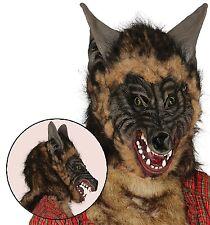 Adulto Hombres miedo Peludo Lobo Animal Disfraz Halloween Máscara Accesorio