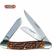 Robert Klaas Kissing Crane Medium Stockman Stainless Blades Tobacco Bone Handle