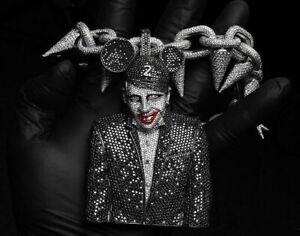 Awesome 925 Silver Marilyn Manson Piece Rich Black & White CZ Men's Pendants