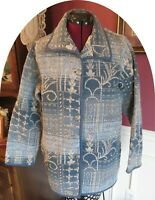 Blair Womens Size M Blue Silver Metallic Tapestry Brocade Jacket Button Front