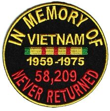 IN MEMORY OF VIETNAM VETERANS NEVER RETURNED PATCH