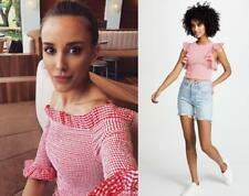 New CAMEO C/MEO COLLECTIVE Best Love Red White Gingham Check Ruffle Crop Top S