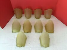 LOT OF 10 VINTAGE ART DECO FROSTED GLASS SLIP SHADE WALL SCONCES