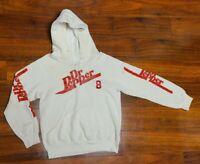 VTG BASSETT WALKER Dr Pepper White Hooded Sweatshirt Size S USA MADE W/Stains
