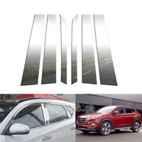 Fit for 2016-2018 Hyundai Tucson 6Pc Chrome Pillar Post Trim Stainless Steel