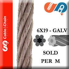PER M - 6mm ISP 6X19 Fiber Core Galvanised Steel Cable (1 = 1 METER)