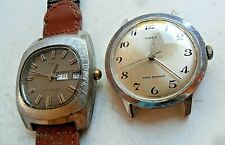2 Vintage Men's 1970's Timex Water Resistant Watches One Runs One Does NOT As-Is