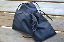 6 x 10 Inches Cotton Muslin Bags. Double Drawstring Black Bags - 100