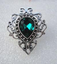 Victorian Style Gothic Brooch Vampire Costume Jewellery Dark Green Crystal