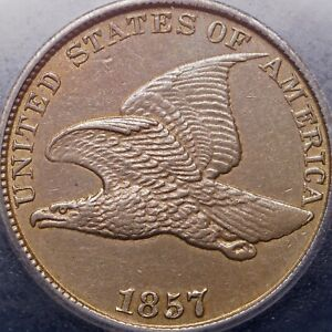 1857 Flying Eagle Cent - ICG AU58 Details - Strong Eagle!