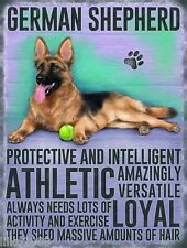 "GERMAN SHEPHERD DOG 12""X 8"" MEDIUM METAL SIGN 30X20cm WITH CHARACTER DESCRIPTION"