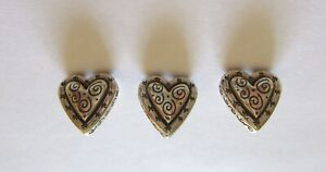 Brighton Push Pins- Set of Three- silver color- Heart Shape- swirly-etching