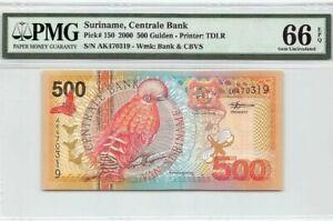 2000 SURINAME 500 Gulden PMG66 EPQ GEM UNC [P-150]