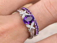3Ct Oval Cut Amethyst Bridal Engagement Butterfly Band Ring 14K White Gold Over