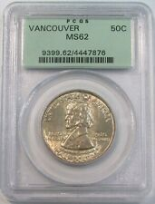 1925 SILVER VANCOUVER COMMEMORATIVE HALF DOLLAR PCGS GREEN LABEL MINT STATE 62