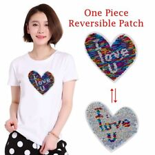 """Heart Reversible Multi-color Sequins Patch Embroidery Badge DIY Craft """"I love u"""""""