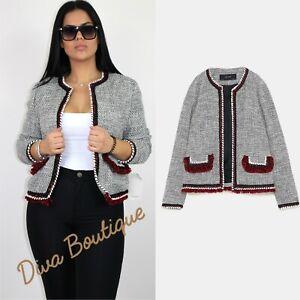 Zara Textured Blazer Jacket with frayed trims AW 2019 Size L NEW