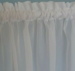 2 metre wide WHITE Sheer Voile Curtains Rod Pocket Bathroom Kitchen Caravan Cafe