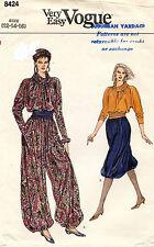1980's VTG VOGUE Misses' Top,Pants and Belt Pattern 8424 Size 12-16 UNCUT